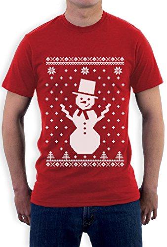 Snowman Schneemann Ugly Christmas Sweater Weihnacht T-Shirt Rot