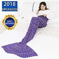 Manta de Cola de Sirena por YOWAO, Escamas de Pescado Patrón Suave Todas las Temporadas Mantas para Dormir (Púrpura--1, Adultos)
