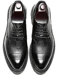 Ruanyi Chaussures en Cuir Oxford Hommes, Affaires Formelles PU Chaussures en Cuir Classique à Lacets Mocassins Texture Carrée Solides Oxfords Outsole Confortable (Couleur : Brown, Size : 39 EU)