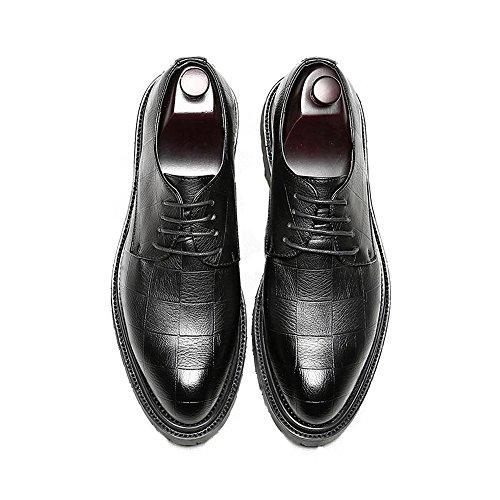 Sunny&baby scarpe da lavoro in pelle pu da uomo classiche mocassini con lacci square texture strong outsole oxfords resistente all'abrasione ( color : nero , dimensione : 42 eu )