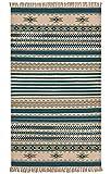 Second Nature Kovalam Geometrische Streifen Wolle Kelim Teppich Blau Grau weiß (Fair Trade) 75cm x 135cm