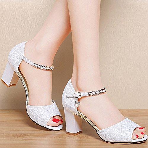 ZPPZZP La sig.ra sandali luce artificiale in Europa con diamanti grezzi alta porta con scanalato 36EU