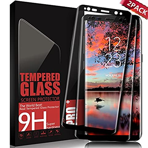 Galaxy S8 Screen Protector, SGIN [2-Pack] Full Coverage Tempered Glass Screen Protector for Samsung S8, Anti Scratched, Anti-Fingerprint HD Display Glass Protection Film -