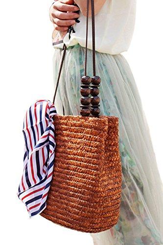 TININNA Donne Estiva Elegante Borse di Spiaggia Paglia Borsa A Tracolla Sacchetto Tote di Viaggio(Brown) Brown