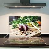 DAMU | Ceranfeldabdeckung 1 Teilig 80x52 cm Herdabdeckplatten aus Glas Gemüse Elektroherd Induktion Herdschutz Spritzschutz Glasplatte Schneidebrett