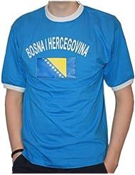 BRUBAKER Herren oder Damen Bosnien Herzegowina Fan T-Shirt Blau Gr. S - XXXL
