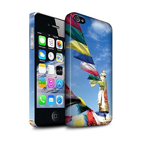 Clipser Matte Coque de Stuff4 / Coque pour Apple iPhone 4/4S / Bouddha de Pierre Design / Paix Intérieure Collection Drapeaux de Prière