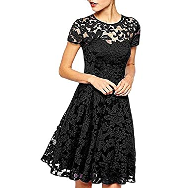Measoul Womens Round Neck Short Sleeve Pleated Lace Mini Party Evening Cocktail Dress