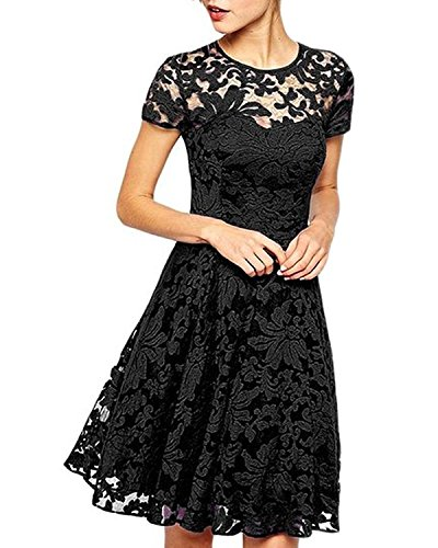 Measoul Women Round Neck Short Sleeve Pleated Lace Mini Party Evening Cocktail Dress (M/UK 12, Black)