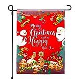 Qpout Weihnachten Garten Flagge, 12x18 Zoll Weihnachts-Flagge Doppelseitige Weihnachtsfahne Weihnachten Rot Banner für House Winter Garten Baum Outdoor Party Dekoration