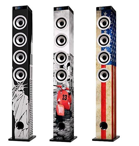 iCES IBT-5 NY Liberty Turmlautsprecher (Bluetooth, FM Radio, USB, AUX-Eingang) mit Fernbedienung - 5