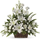 FloraZone Serene Beauty Basket Arrangement of Carnations and White Oriental Lilies Same Day Delivery