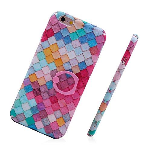 """iProtect Hardcase mit Ring Halter Marmor Design Schutzhülle in Schwarz mit Fingerhalterung für Apple iPhone 6 6s (4,7"""") Blätter Rosa"""