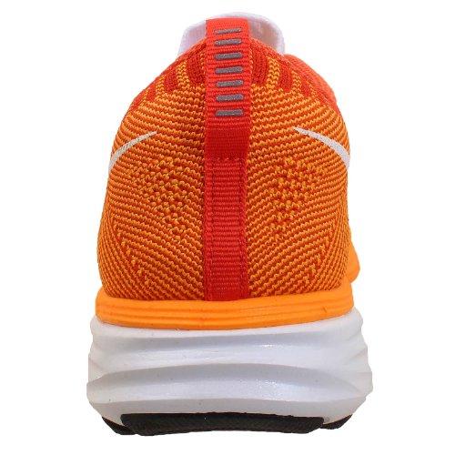 Nike Flyknit Lunar2, Scarpe sportive, Uomo White / White-Lsr Orange-Tm Orange