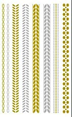 Metallic Gold Silver Black Jewelry Inspired Temporary Bling Flash Tattoo by Eufouria Inc. YW-019