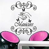 Finloveg Adesivo Manicure Vinyl Sticker Mano Salone Di Bellezza Unghie Cosmetic Parrucchiere Parete Pape Farfalla Home Decor 55X57Cm