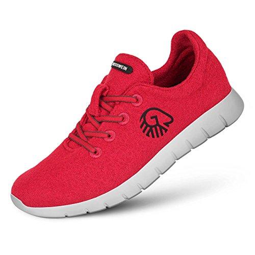 Giesswein Woll-Sneaker Merino Runners Men rot | 41 Atmungsaktive Sneaker für Herren aus 100% Merino Wolle, Sportliche Schuhe, Halbschuh, Freizeitschuh, Herrenschuhe -