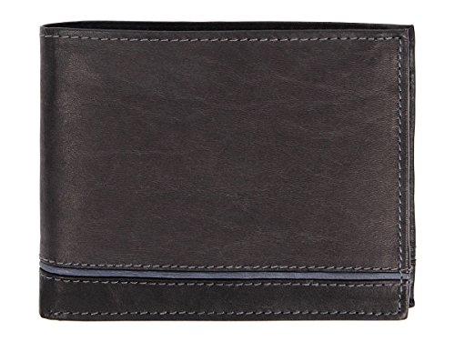 Geldbörse Echt Leder Portemonnaie Ledergeldbörse Herren unifarben quer von ALSINO, Variante wählen:LGB-N02 schwarz blau