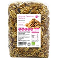 PINK SUN Nueces Orgánicas 1kg Mitades y Pedazos Bio Crudas No tostado Sin Sal Natural Pieles 1000g a Granel Frutos Secos Sin Cáscara - Raw Organic Walnut Halves and Pieces Nuts Unsalted Bulk