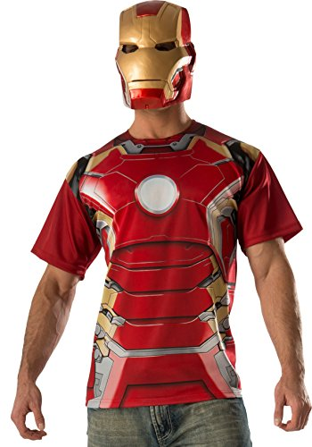 Kostüm T Ironman Shirt - Iron Man and Mask T-Shirt Mens Fancy Dress Avengers Superhero Ultron Adult Costume