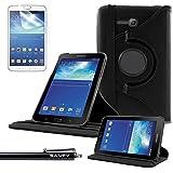 Funda Galaxy Tab 3 Lite 7.0 , SAVFY® - Giratoria 360 grados Stand PU Funda Flip Set para Samsung Galaxy Tab 3 Lite 7.0 SM-T110 + Paño de Limpieza + Protector de la Pantalla + Lápiz Optico (Negro)