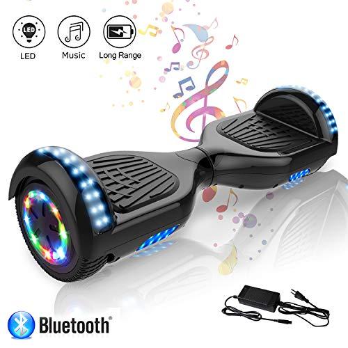 COLORWAY Hoverboard Flash-Rad Balance Elektro Scooter Roller EU Sicherheitsstandard, mit Bluetooth Lautsprecher und LED-Lichter (Schwarz)