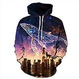Unisex Paare Whale Hooded Sweatshirt 3D gedrucktes Sweat Shirt Langarm Hoodie Taschen Top