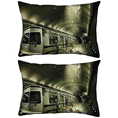 Lot de 2Falling Metro rectangle Toss Couvre-lit Taie d'oreiller Housse de coussin Decoarative Taie d'oreiller 30,5x 45,7cm
