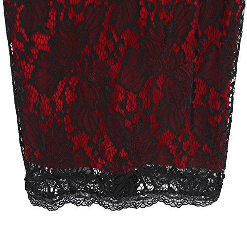 MABELER Damen Kleid Elegant Spitzen Rundhals Abendkleid Knielanges Cocktailkleid Rot