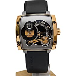Hautlence Men's HLS Black Rubber Band 18K Gold Plated Case Anti Reflective Sapphire Mechanical Watch HLS06