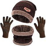 Petrunup Beanie Sciarpa e Guanti Touchscreen 3 Pezzi Set Winter Warm Set Unisex per Uomo Donna Marrone