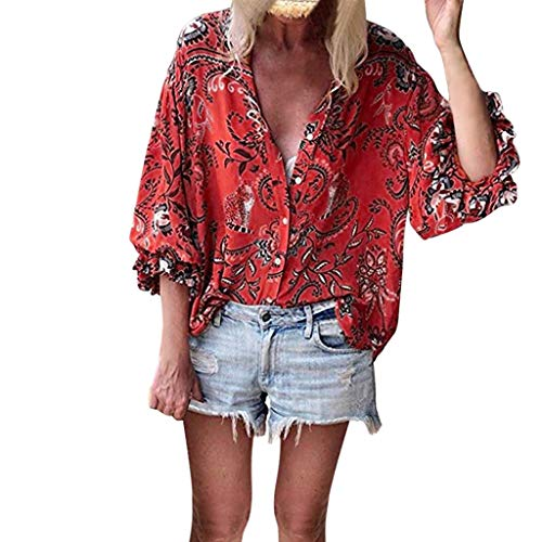 Muyise Tops Damen Bluse gekräuselte Ärmel Knopf Kragen V-Ausschnitt Blumendruck beiläufige lose Sommerhemd T-Shirt Kleidung(Rot,XL)