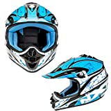 Kinderhelme Motorrad Roller MX Helm Off Road Racing Junior Motorradhelm Kinder Vollgesichtsschutz - 4 Blau XS