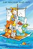 Abschiedskarte - Karte zum Abschied Tiere auf Floß