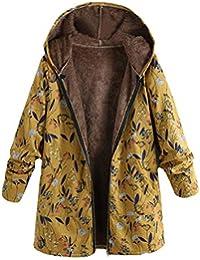 b792ff1bffc5 Moonuy Women A-Line Coat Damen Plus Size Outwear Kapuzen Langarm Baumwolle  Warm Linen Fluffy Fur Zipper Mantel warmen Parka…