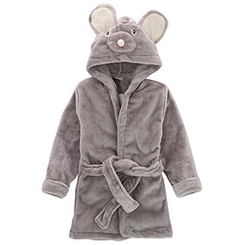 Kinder Nachtwäsche mit Kapuze Bademantel, Baby Kleinkind Jungen Mädchen Nachthemd Flanell Pyjamas Bademäntel Cartoon Tiere Handtuch Maus