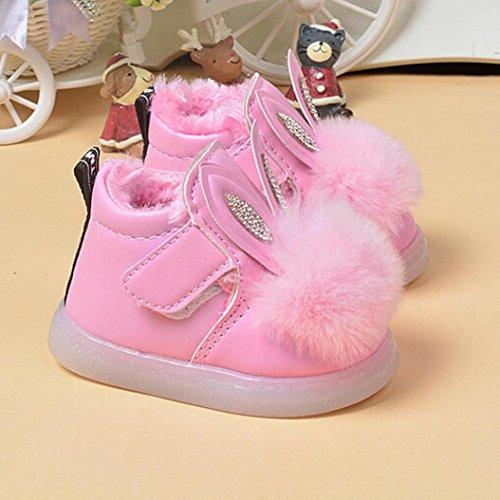 OverDose Baby-Mädchen Baby-Kind beleuchtete Schuhe Winter-Schnee-Aufladungen lederne Schuhe Rot
