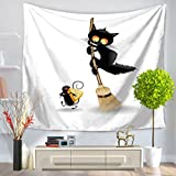 GT Tapestry, Creativity, Black cat, Printing, Wall Hanging Tapestry, Hippie Tapestries, Print Tapestry, Cotton Handmade Tapestry, Twin Size Bedding Bedspread Picnic Beach Sheet, Table Cloth, Decorative Wall Hanging, 150*130CM
