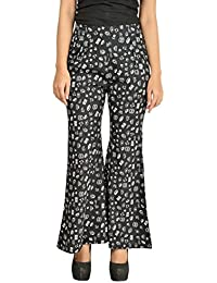 Timbre Women / Girls Black Printed Bell Bottom Style Plazzo With Pockets In Crepe Fabric