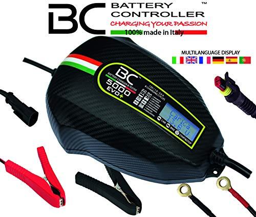 BC Battery Controller BC 5000 EVO+, Caricabatteria e Mantenitore Digitale/LCD, Tester di Batteria e Alternatore per tutte le batterie Auto e Moto 12V Piombo-Acido, 5A/1A