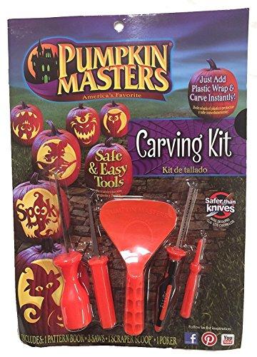 Pumpkin Master Safe & Easy Tools Carving Kit Kürbis Schnitz Set + Schablonen Heft mit 5 Werkzeugen Orange (Orange) (Pumpkin Masters)