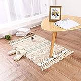 Cologo Läufer Teppich Baumwolle Waschbar Handwebteppich 60x90cm Vintage Marokkanisches Muster Antirutschmatte Teppichunterlage für Wohnzimmer, Schlafzimmmer, Esszimmer