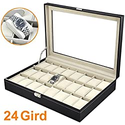 chinkyboo 24 slots Mens Black Leather Display Glass Top Jewelry Case Organizer