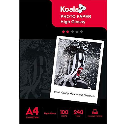 KOALA High Glossy Inkjet Photo Paper A4 Size 100 Sheets 240 GSM for Canon Hp Epson Inkjet Printer