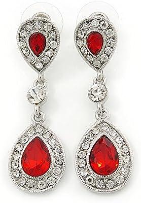 Suite // diseño de vestido de fiesta boda rojo/con circonitas transparente en forma de lágrima en Rodio en relieve con brillantes - Juego de pendientes de 50 mm L