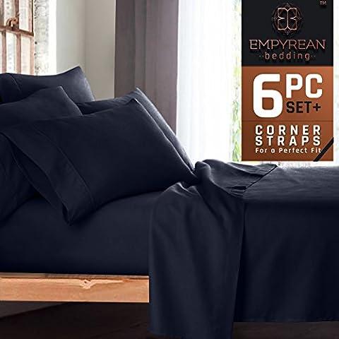 Premium 6Bed Sheet & Kissenbezug Set–Luxuriös & weich Leinen, extra tief Pocket Super Fit Spannbettlaken, Schlafzimmer Essentials, Bonus 2Kissenbezügen und
