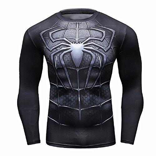 XXXL - Maglia T-Shirt Sportiva Manica Lunga Con Stampa Spiderman