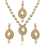 Ethnic Traditional INDIA bollywood pearl tear drop polki necklace set with maang tikka-White best price on Amazon @ Rs. 399