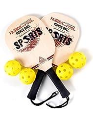 CUESOUL Basswood Pickleball Paddle Bundle (Juego incluye 2 paletas y 4 bolas, con 1 bolsa de transporte)