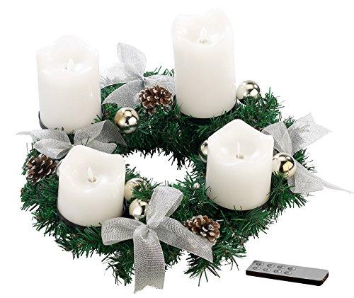 Tannenzapfen-kerze Kranz (Britesta Adventsgestecke: Adventskranz, silbern, 4 weiße LED-Kerzen mit bewegter Flamme (Adventkranz))